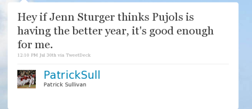 Hey if Jenn Sturger thinks Pujols is having the better year, it's good enough for me.