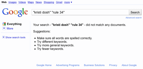 "Your search - ""kristi dosh"" ""rule 34"" - did not match any documents."