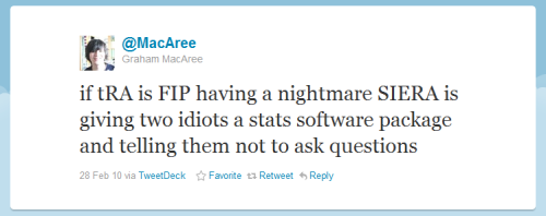 if tRA is FIP having a nightmare SIERA is giving two idiots a stats software package and telling them not to ask questions